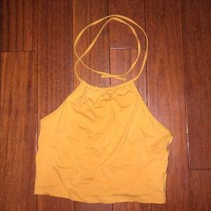 Yellow marigold halter crop top